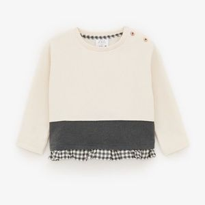 Zara Beige Sweatshirt with Matching Plaid Trim